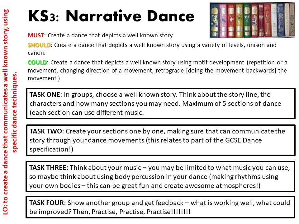 KS3 Narrative Dance COVER Task Card