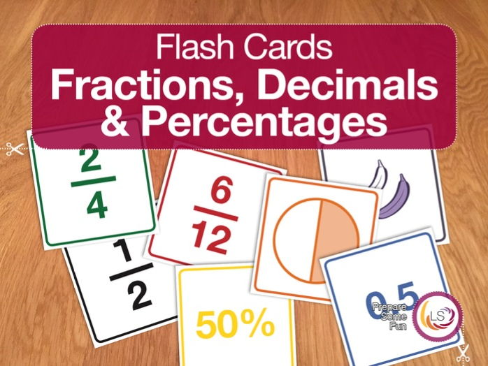 Fraction, Decimals and Percentages | Flash Cards