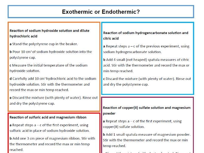 Exothermic/Endothermic Reactions Worksheet and Teacher Sheet