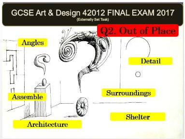 AQA Art and Design GCSE 2017 (42012) - Unit 2 EXAM VISUAL POWERPOINT FOR Q2 OUT OF PLACE