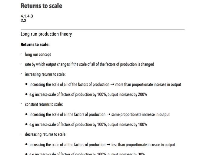 Returns to Scale - A-Level Economics