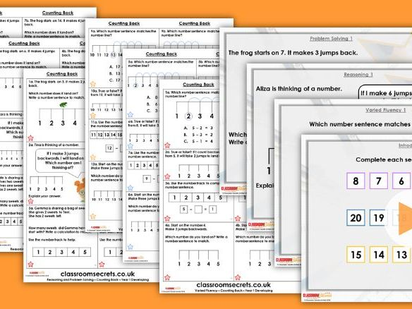 Year 1 Counting Back Autumn Block 2 Step 15 Lesson Pack