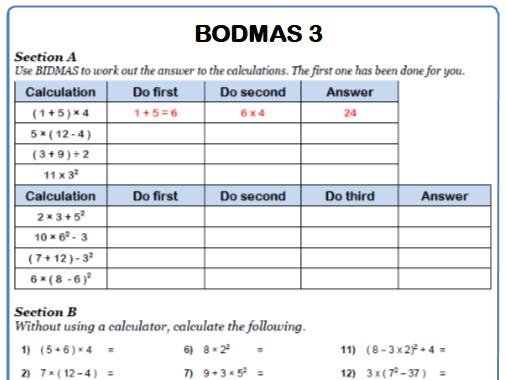 BODMAS Maths Worksheet 3
