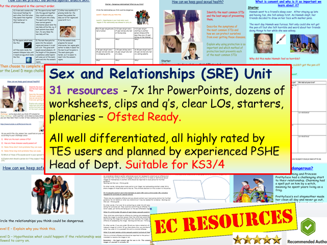 Sex and Relationships Education Unit PSHE