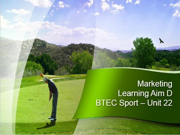 BTEC Sport L3 - Unit 22 - Learning Aim D