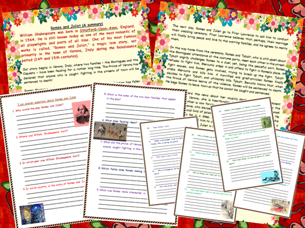 Romeo and Juliet Summary Comprehension Shakespeare Tudors