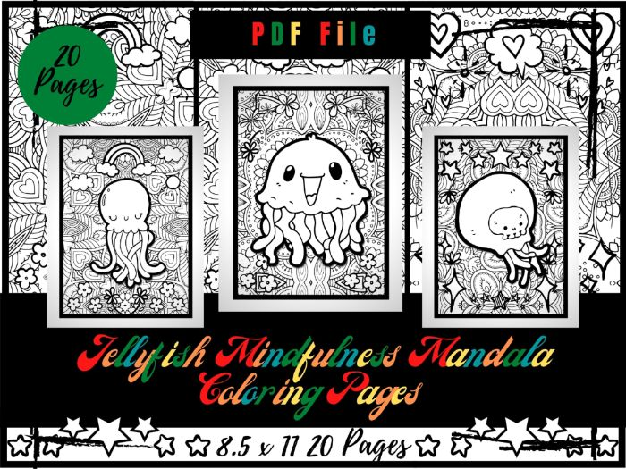 Mindfulness Jellyfish Colouring Pages, Sea Life Animals Printable Colouring Sheets