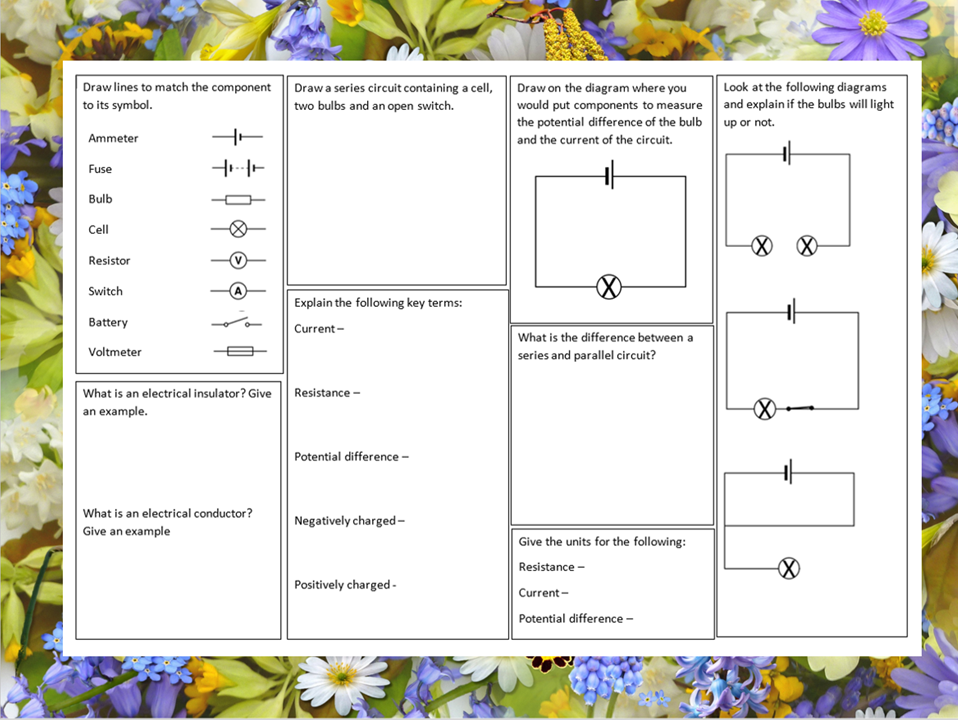 KS3 Electrical circuits revision mat
