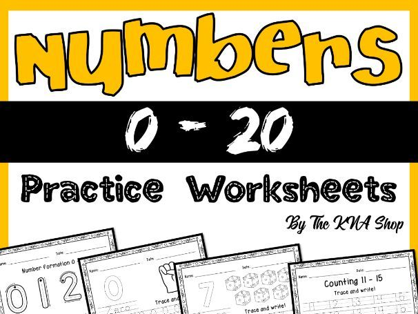 Number Tracing 0 - 20 Worksheets