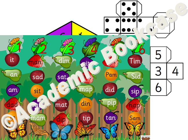Caterpillar to butterfly reading game - Phase 2 to 4