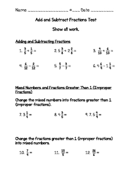 Fraction Test 4th Grade (Go Math) - Adding & Sub, Mixed & Improper, Renaming