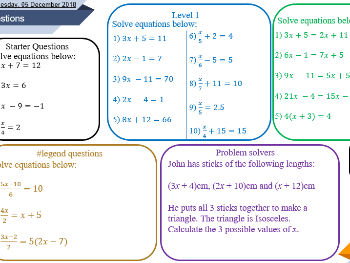 Solving equations lesson (Includes multi-variable)