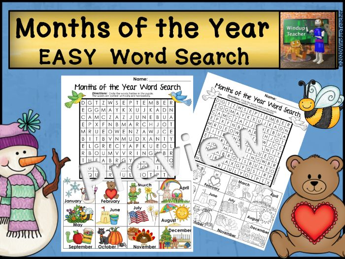 Months of the Year Word Search - Easy