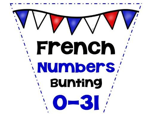 FRENCH CLASSROOM DISPLAY BUNTING NUMBERS 0-31