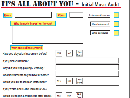 Initial Music Audit/ ice breakers / Note reading
