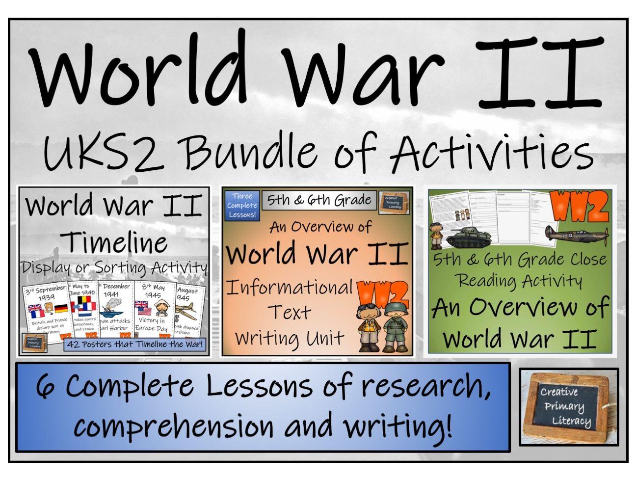 UKS2 World War II - Display, Sorting, Reading Comprehension & Writing Bundle