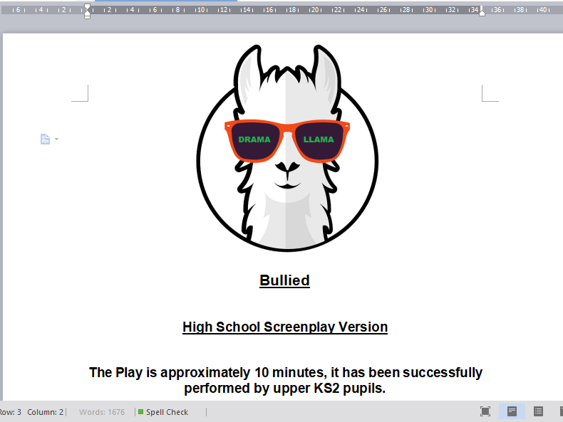 10 Minute Bullying Play, High School ScreenPlay Version
