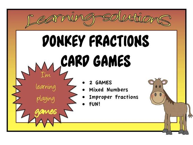 FRACTIONS - Mixed Numbers & Improper Fractions - DONKEY CARD GAMES - 2 games (15 pages)