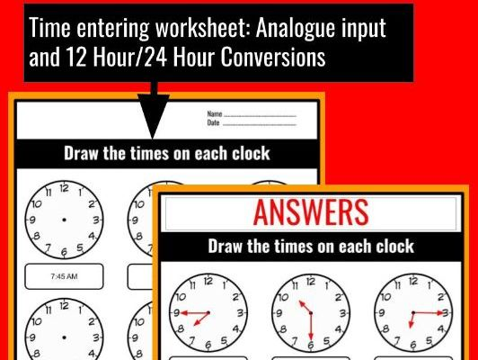 Time Entering Worksheet WITH ANSWERS