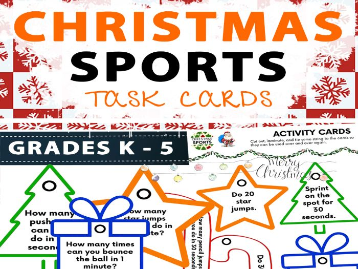 Christmas Sports Task Cards - Physical Education - Brain Break
