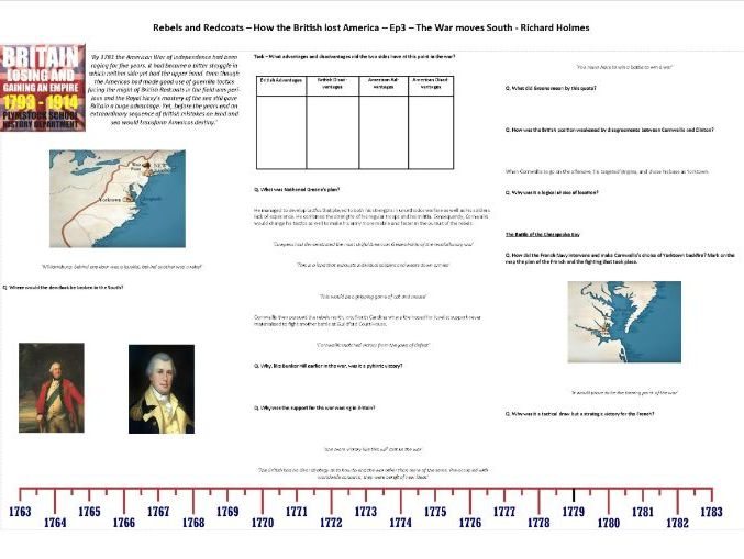 Rebels and Redcoats - Ep4 - Worksheet to support the Richard Holmes BBC Documentary