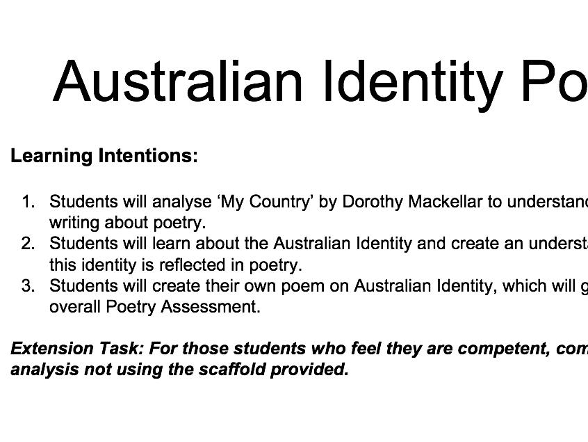 Australiana Poetry Unit of Work