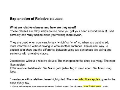 German relative clause revision and explanation