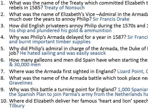 Eduqas / WJEC GCSE History ELIZABETH I -History King & Queen starter or plenary knowledge tests