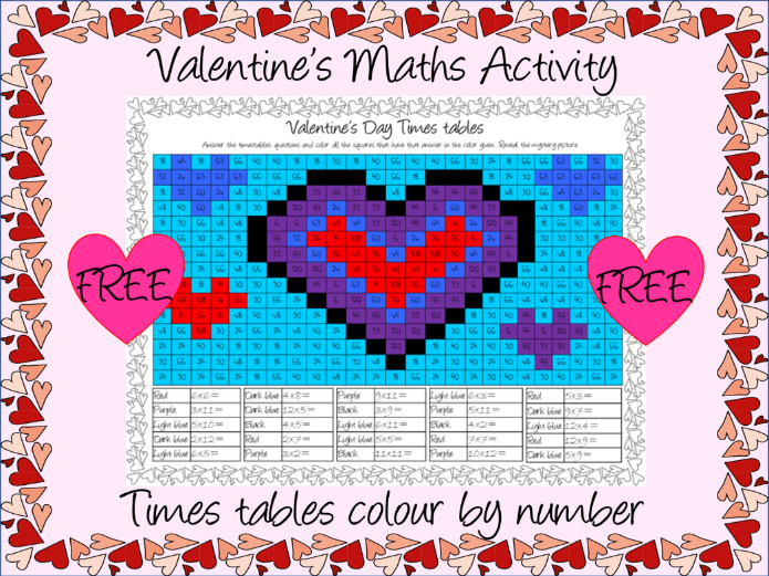 Valentine's maths Times tables