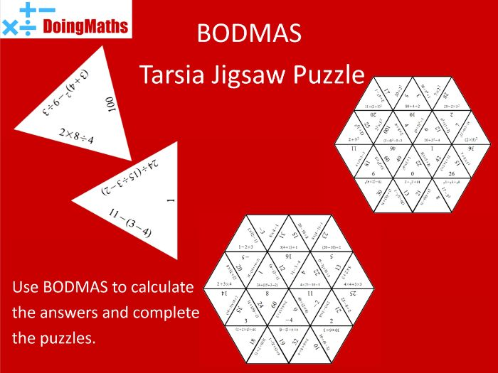 BODMAS Tarsia Jigsaw Puzzles Pack - Practise Order of Operations