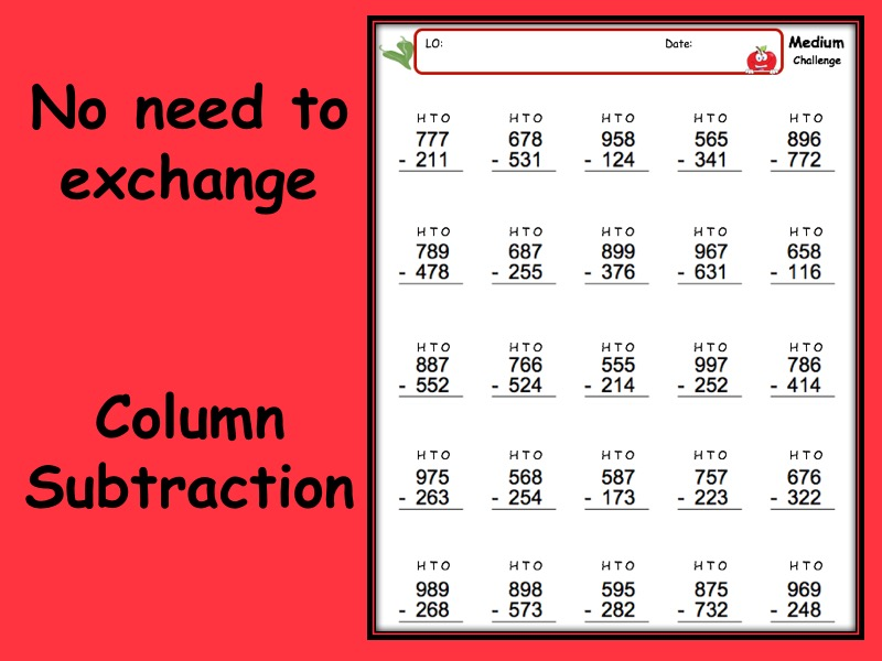 Subtraction worksheet with answers - 3 levels of differentiation KS2 Year 3 4 5 6 no exchange