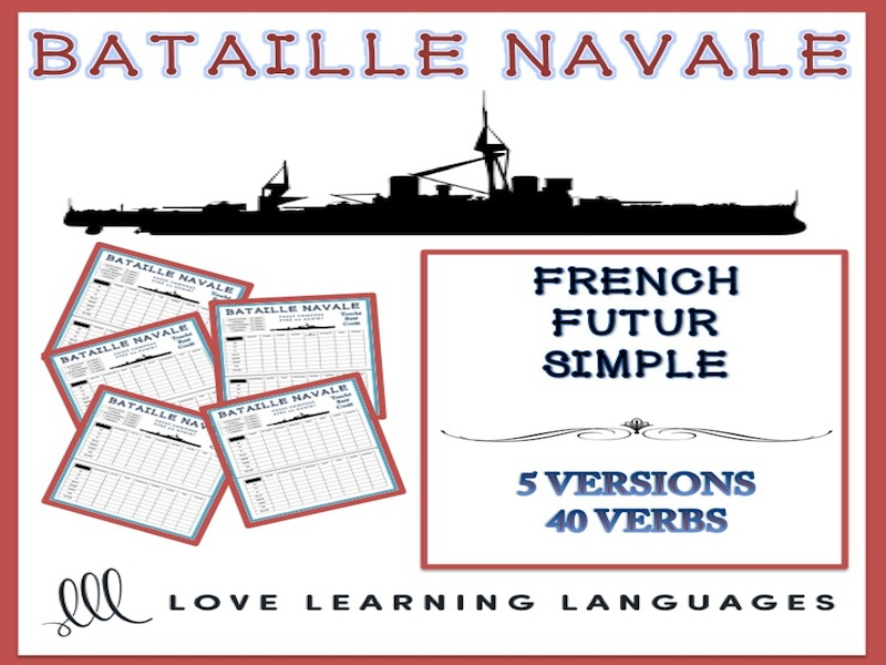 GCSE FRENCH: Bataille Navale - Futur simple - French future tense battleship game