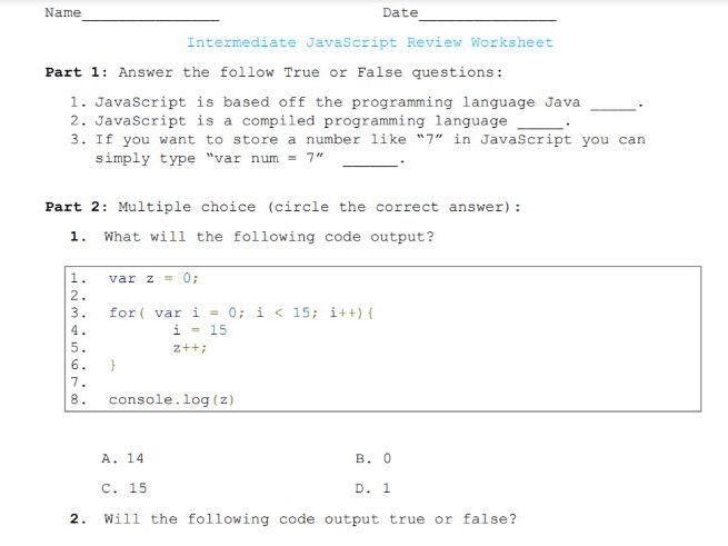 Intermediate JavaScript Worksheet