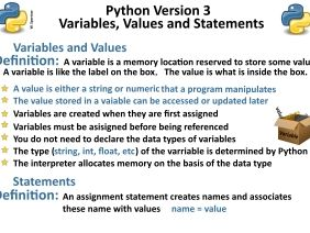 Python Version 3: Variable, value and statements