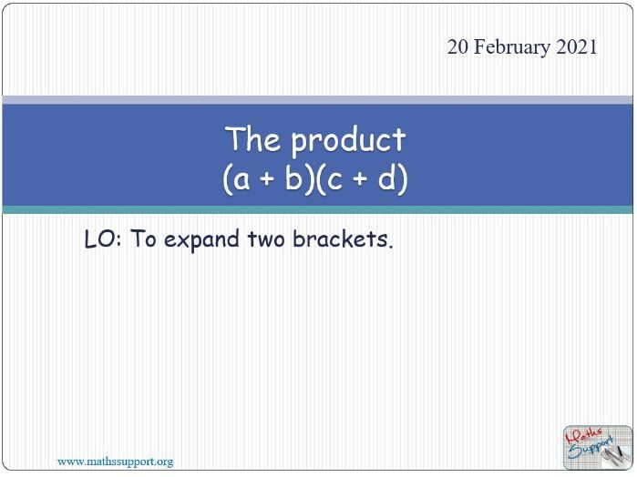 The product (a + b)(c + d)