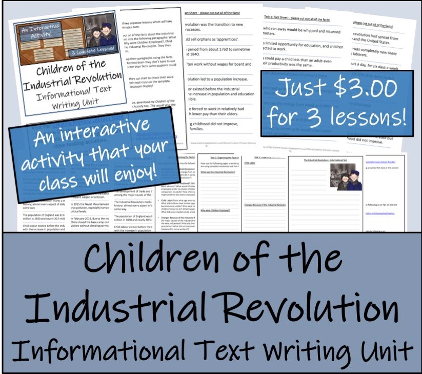UKS2 History - Children of the Industrial Revolution Informational Text  Writing Unit