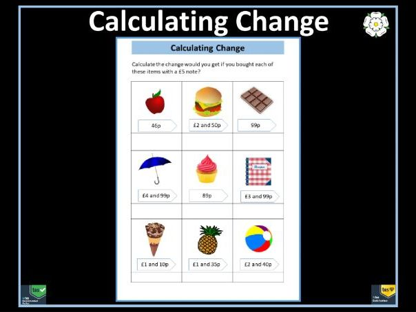 Calculating Change from £5 Worksheet - Year 3 Maths