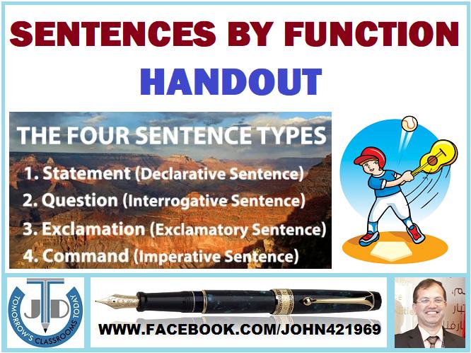 SENTENCES BY FUNCTION HANDOUT