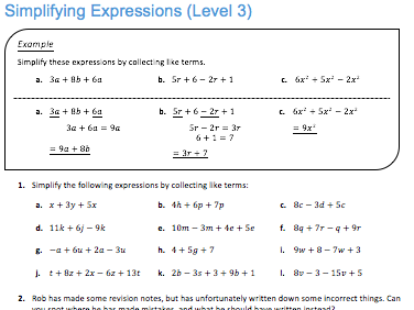 Simplifying Linear Expressions with 4 Terms (A)