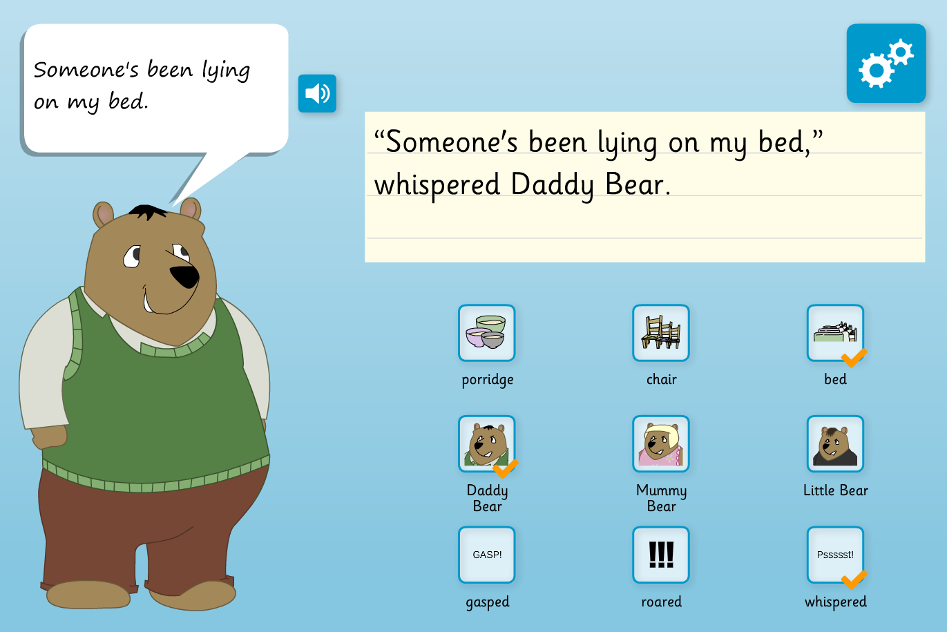 Speech Verbs Interactive Activity - Goldilocks - KS1 Literacy