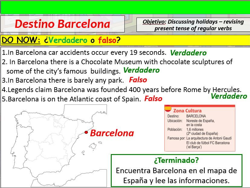 COMPLETE VIVA GCSE FOUNDATION module 1 unit 3 - DESTINO BARCELONA pptx