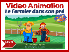 French Song -Le fermier dans son pré - French song in video animation