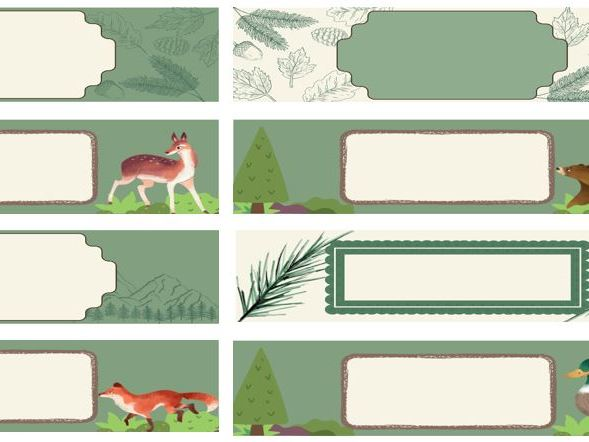 Woodland Tray labels