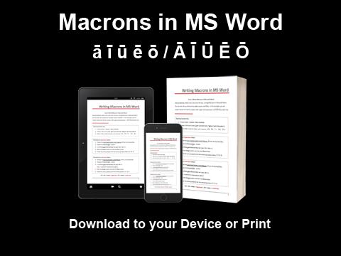 Adding Macrons in Microsoft Word