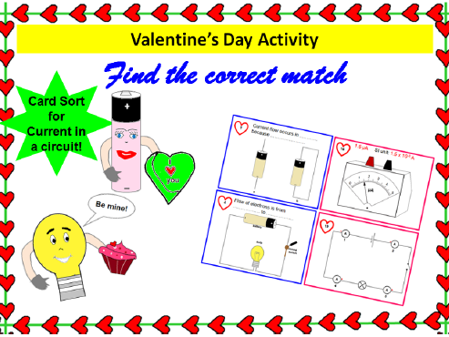 Find the correct match- Card Sort- Current in electric circuits- Valentine's Day Activity