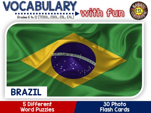 Brazil: Word puzzles and Photo flash cards