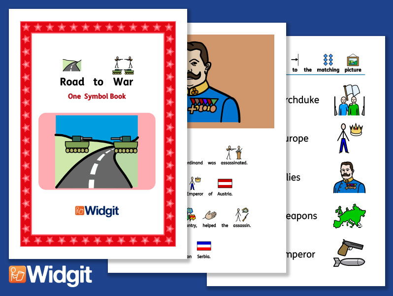 Road to World War 1 - History Book and Activities with Widgit Symbols