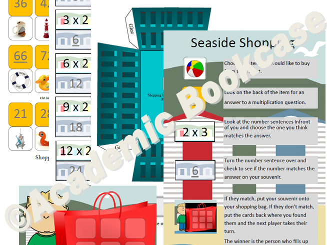 Seaside shopping multiplication game - 2x to 12x table options