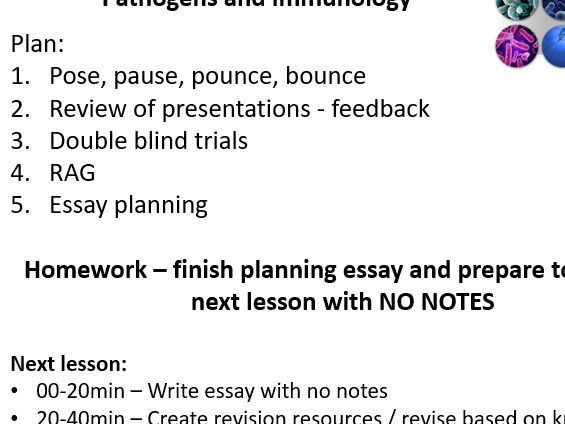 Revision and essay guidance for AS Biology topic - Pathogens and Immunity