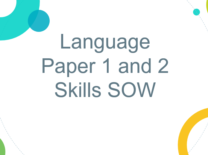 Language Paper 1 and 2 Skills SOW